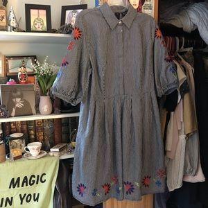 Eloquii embroidered striped shirt dress w/ collar